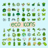 ecology icon set hand drawn illustration vector isolated on blue background