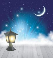 Night Nature Sky Background With Moon, Cloud and Stars vector