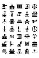 conjunto de iconos sólidos de justicia y ley vector