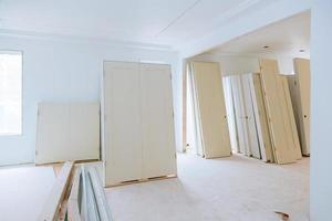 Apartment remodeling under construction installing material new home for repairs photo