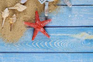 Summer holiday concept, seashells, starfish on beach sand of dollar banknote photo