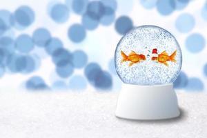 Bola de nieve navideña con peces de colores santa en el interior foto