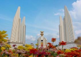 Bangkok Thailand- Democracy monument with blue sky in Bangkok photo