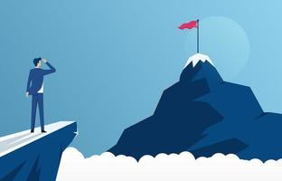 businessman standing on cliff's edge and looking at the mountain, business concept challenge and the goal vector