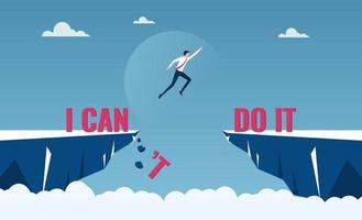 Businessman jumping over cliffs for I can do it, good mindset and never give up concept vector