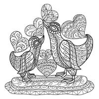 Mother duck and son hand drawn for adult coloring book vector