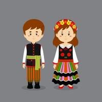 Couple Character Wearing Poland National Dress vector