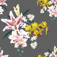 Seamless pattern floral with pink Orchid and lily flowers abstract background.Vector illustration watercolor hand drawning. vector