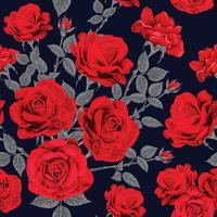 Seamless pattern red rose flowers vintage abstract dark blue background.Vector illustration drawing watercolor style.For used wallpaper design,textile fabric or wrapping paper. vector