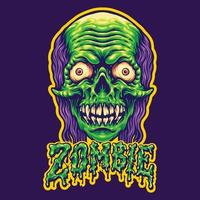 Spooky Zombie Head and Text Illustrations vector