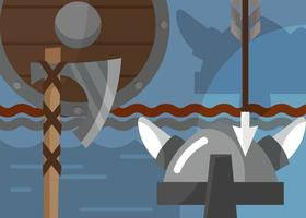 Viking banner with armor and weapons. vector