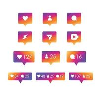 iconos de redes sociales con color degradado vector
