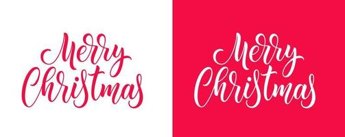 Christmas hand drawn lettering. Xmas calligraphy on white and red background. Merry Christmas handwritten calligraphic text. vector