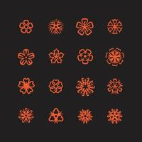 Icon set of flowers vector