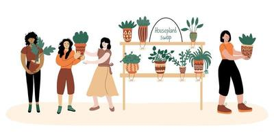 People exchange houseplants. Different women are happy with new plants vector