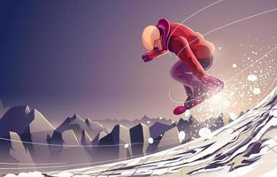 Winter Extreme Sport with Jump Snowboard vector