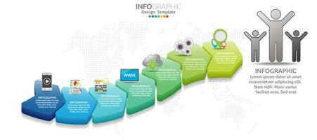 Business timeline infographic 3d style options banner. vector