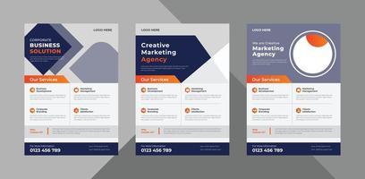 creative agency flyer design template. modern business poster leaflet design. a4 template, brochure design, cover, flyer, poster, print-ready vector