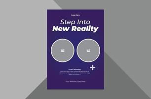 virtual reality flyer design template. hi-tech virtual reality poster leaflet design. technology hi-tech virtual reality flyer template. a4 template, brochure design, cover, flyer, poster, print-ready vector