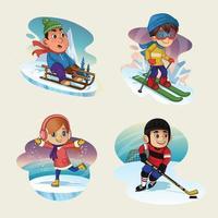 Set of Kids Character in Winter Sport vector