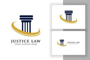 pillar logo design template with swoosh. justice law and attorney logo vector