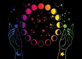 Mystical moon phases and woman hands, colorful spectrum pagan Wiccan goddess symbol, alchemy esoteric magic space, sacred wheel lunar cycle, vector isolated on black background