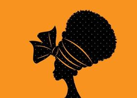 portrait beautiful African woman in traditional turban handmade tribal wedding polka dots textile, Kente head wrap African ethnic black women Afro curly hair vector silhouette isolated on yellow