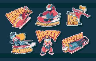 Winter Sports Athletes vector