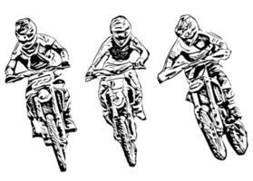 Motocross  silhouette Vector isolated on white background.eps