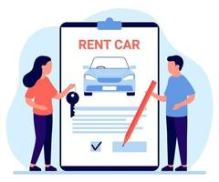 Car rent, lease auto. Sign document and owner give automobile key to customer. Agreement of rental car driving. Vector illustration