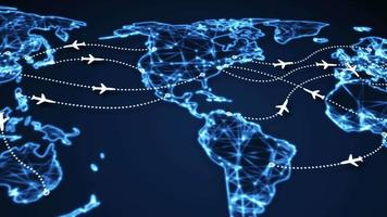 Airplanes on world map panning video