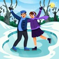 Happy Couple Skating on Ice vector