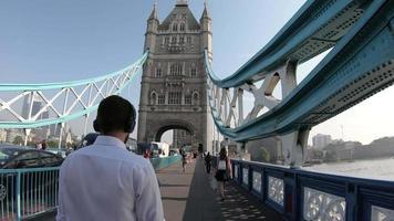 timelapse walking on Tower Bridge in London, England video