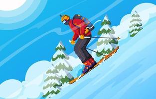 Skiing on Mountain during Winter vector