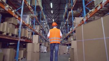 Men at work in storehouse. video