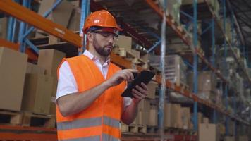 Professional worker working in storehouse video