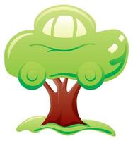 Abstract green car on tree symbolizes biofuel vector
