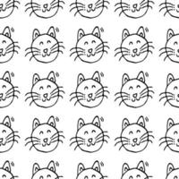 Seamless vector pattern with cats. Doodle vector with cats on white background. Vintage pattern with cats icons, sweet elements background for your project