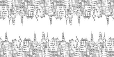 Horizontal seamless pattern with city buildings vector