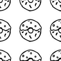 Seamless pattern with donuts. Doodle vector with donuts icons on white background