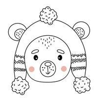 Cute Bear in winter hat. outline. illustration vector