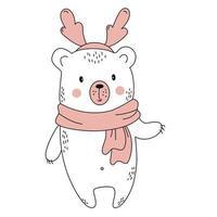 bear with deer horns. Christmas animal. outline. illustration vector