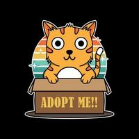 Illustration design of cute funny cat hold box sign adopt me in black background. Good for logo, background, tshirt, banner vector