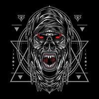 diseño de ilustración momia de halloween con estilo de dibujos animados retro vintage en fondo negro. bueno para logo, fondo, camiseta, banner vector