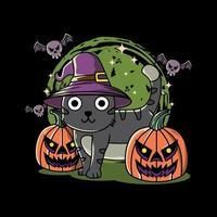 Illustration design of cute cat, pumpkin and bat halloween festival with hand drawn flat style in black background. Good for logo, background, tshirt, banner vector