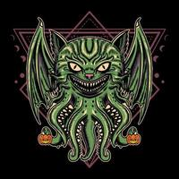 Illustration design halloween cat monster with vintage retro cartoon style in black background. Good for logo, background, tshirt, banner vector
