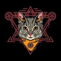 Illustration design of cute halloween cat with sacred geometry style in black background. Good for logo, background, tshirt, banner vector