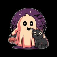 Illustration design of cute cat and ghost halloween festival with hand drawn flat style in black background. Good for logo, background, tshirt, banner vector