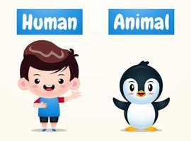 Ilustración de vector humano y animal opuesto.