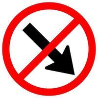 Forbid Keep Right by The Arrow Red Circle Traffic Road Sign Isolate On White Background,Vector Illustration EPS.10 vector